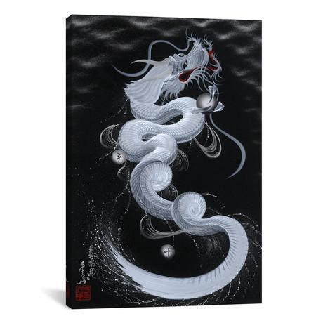 """Good Luck White Dragon // One-Stroke Dragon (18""""W x 26""""H x 0.75""""D)"""