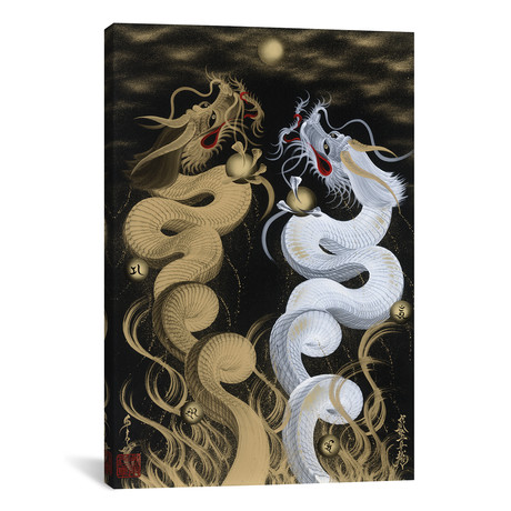 "Flying Twin Dragons White & Gold (26""W x 18""H x 0.75""D)"