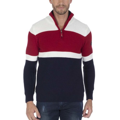 Williams Pullover // Navy + Ecru + Bordeaux (S)
