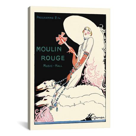 """Moulin Rouge Music-Hall Programme: Paris Qui Tourne // 1920s // Charles Gesmar (26""""W x 18""""H x 0.75""""D)"""