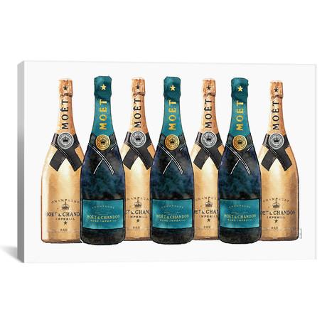 "Dark Teal & Gold Champagne // Amanda Greenwood (18""W x 26""H x 0.75""D)"