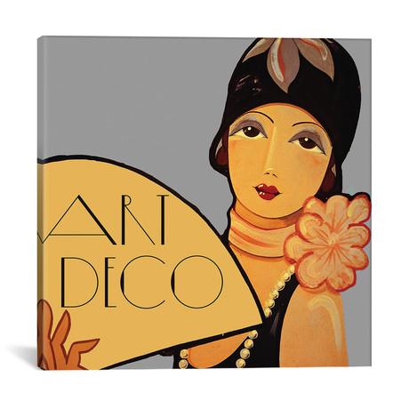 """Art Deco Flapper With Fan // Vintage Apple Collection (18""""W x 18""""H x 0.75""""D)"""