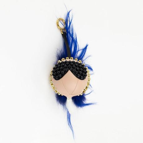 Karlito Leather Studded Fur Handbag Key Charm // Pink + Blue