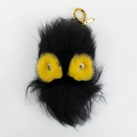 Fur Monster Ball Handbag Key Charm // Black + Yellow