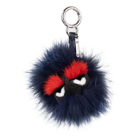 Fendi // Bag Bugs Mink + Fox Fur Bag Charm // Dark Blue
