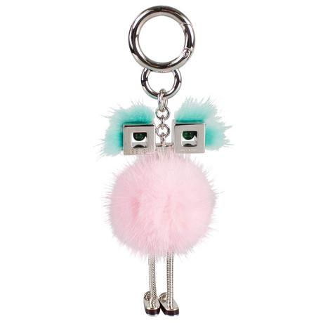 Fendi // Fox Fur Chick Bag Charm // Aqua
