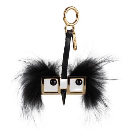 Fendi // Witches Hypnoeyes Metal + Fox Fur Bag Charm // Gold + Black
