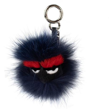 Bag Bugs Eyelashes Mink + Goat Fur Bag Charm // Blue + Red