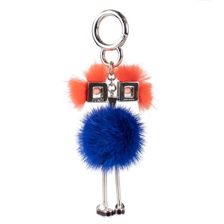 Chick + Mink Fur With Pink Eyes Bag Charm // Blue + Orange