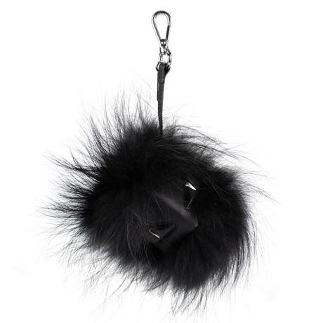 Fendi // Bag Bugs Fox Fur + Leather Monster Cube Bag Charm // Black