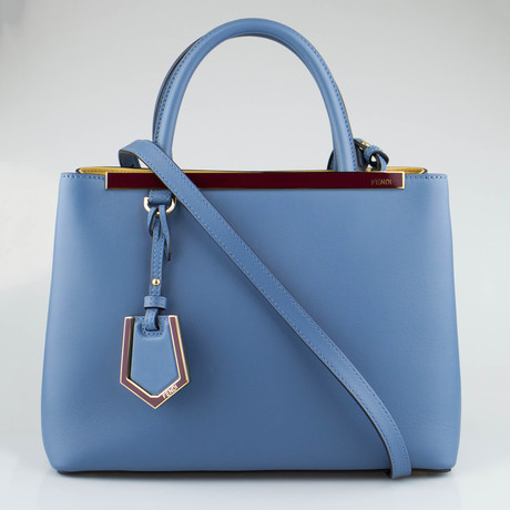Cerulean Leather Petite 2Jours Tote Bag // Blue