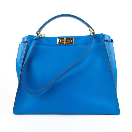 Fendi // Royal Monster Leather Peekaboo Large Studded Satchel Handbag // Blue