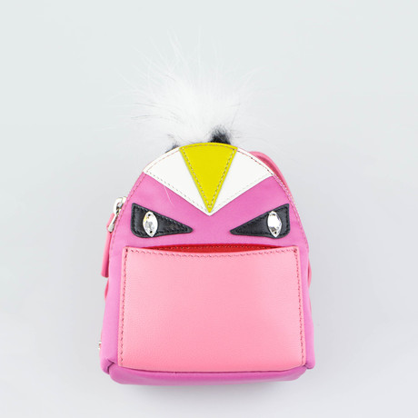 Monster Vinyl + Leather Bag Bugs Backpack Charm Keychain // Pink