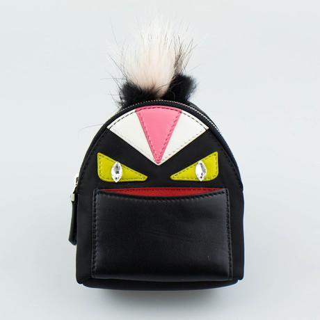 Monster Vinyl + Leather Bag Bugs Backpack Charm Keychain // Black