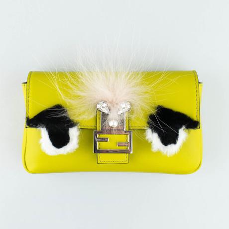 Fendi // Leather Micro Bag Bugs Baguette Messenger Bag // Lime Green