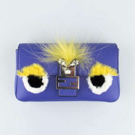 Fendi // Leather Micro Bag Bugs Baguette Messenger Bag // Purple