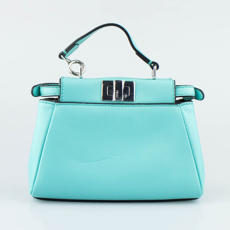 Fendi // Leather Micro Peekaboo Messenger Bag // Turquoise