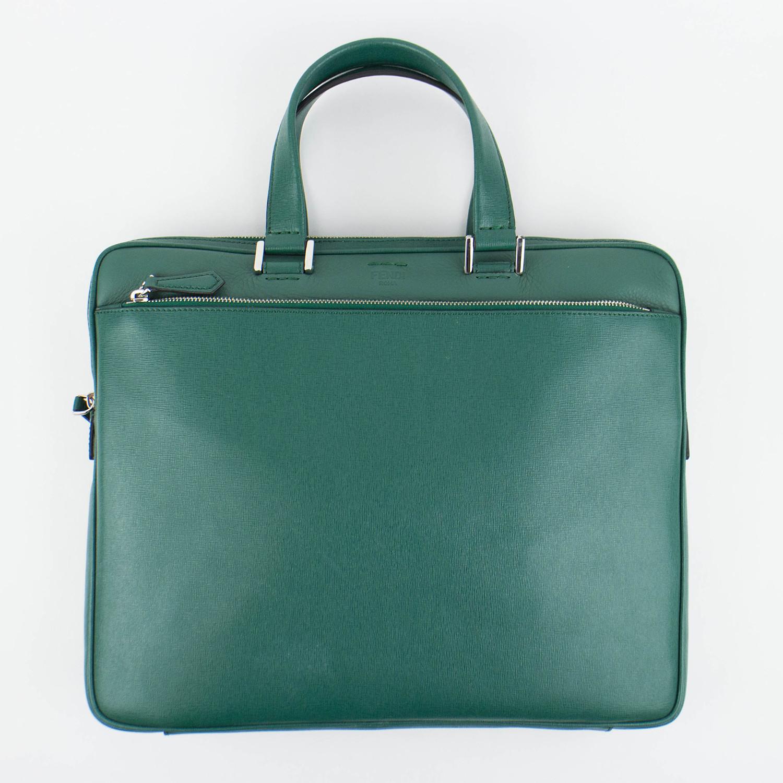 de4e4f07da Fendi // Leather Business Briefcase // Green - Designer Handbags ...