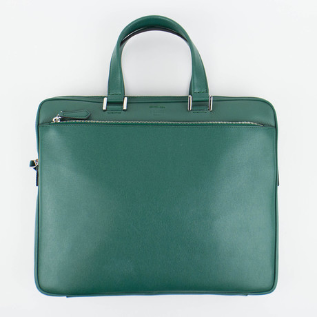 Fendi // Leather Business Briefcase // Green
