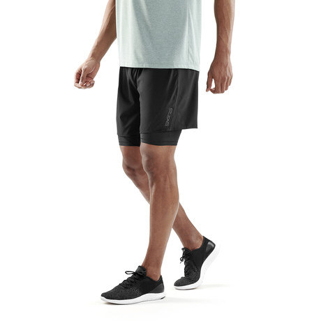 CORE 2-in-1 Compression Shorts // Black + Silver (Small)