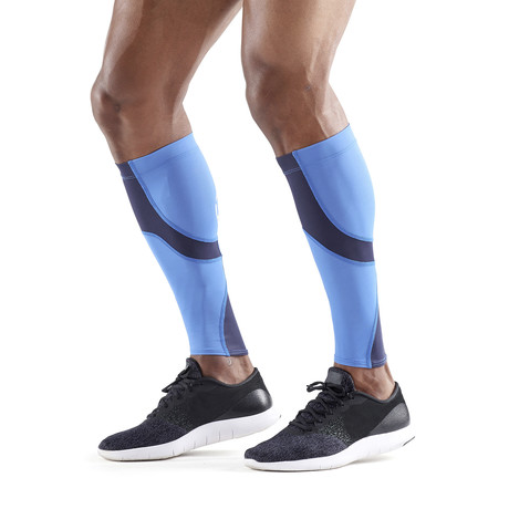 Running Compression Calf Tights // Bright Blue + Navy (Small)