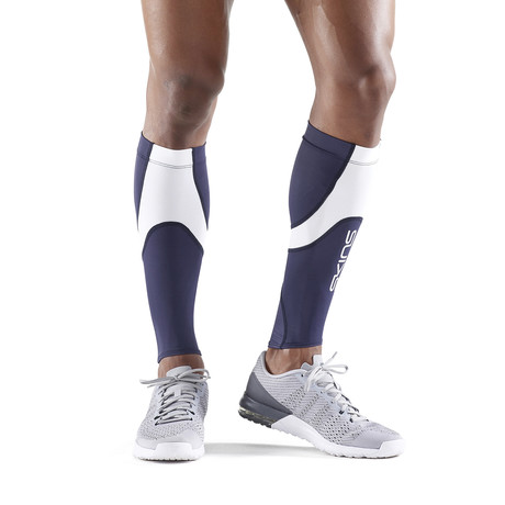 Running Compression Calf Tights // Navy Blue + White (Small)
