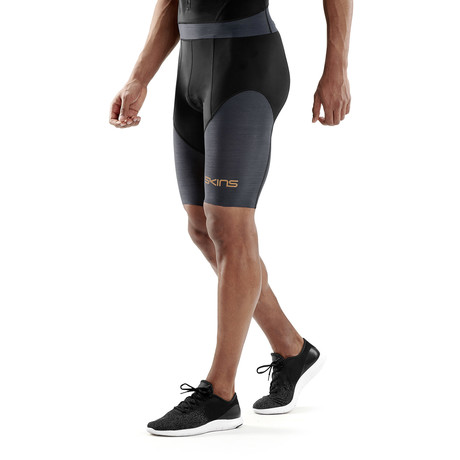 Triathlon Compression Half Tights // Black + Carbon (Small)