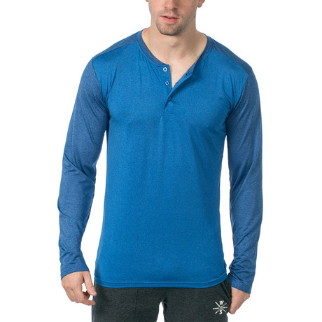 Cara Long-Sleeve Fitness Tech Henley // Blue (XS)