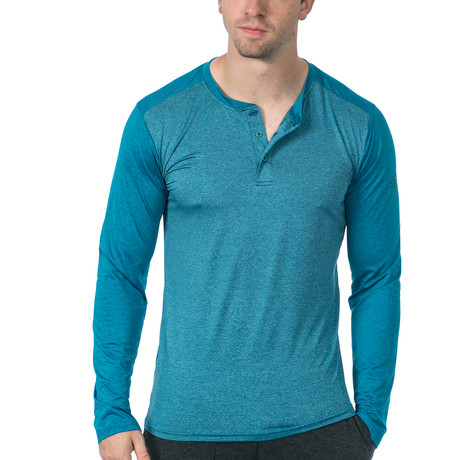 Cara Long-Sleeve Fitness Tech Henley // Turquoise (XS)