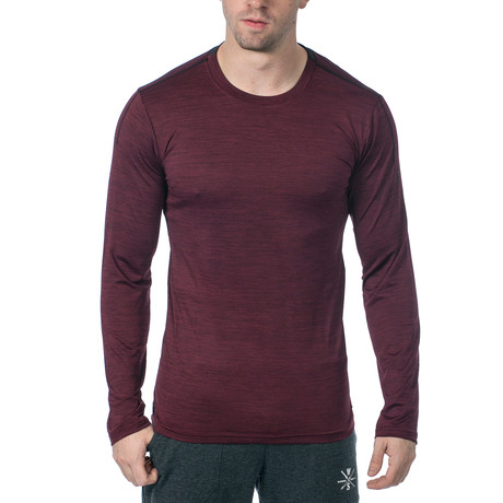 Everyday Long-Sleeve Fitness Tech T // Dark Red (XS)