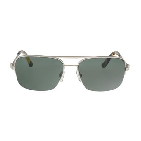 Calvin Klein // Navigator Sunglasses // Silver + Green Gray