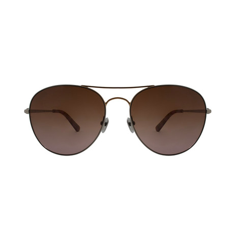 Calvin Klein // Round Aviator Sunglasses // Silver + Brown Gradient