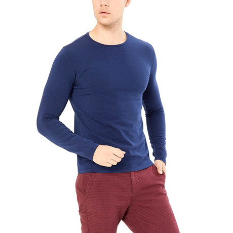 Django Long Sleeve Shirt // Navy Blue (S)