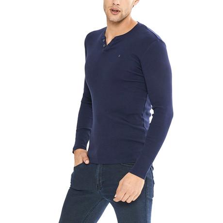 Duke Long Sleeve Henley // Navy Blue (S)