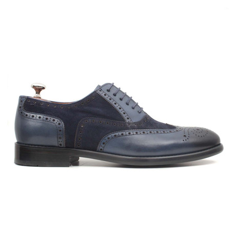 Laci Scala Suede + Leather Wingtip // Navy Blue (Euro: 40)
