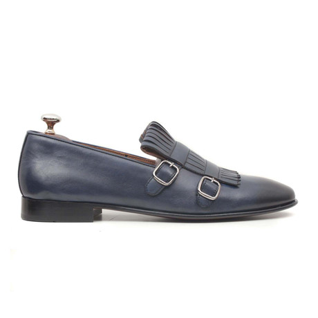 Lacivert Scala Double Monkstrap Loafer // Navy Blue (Euro: 40)