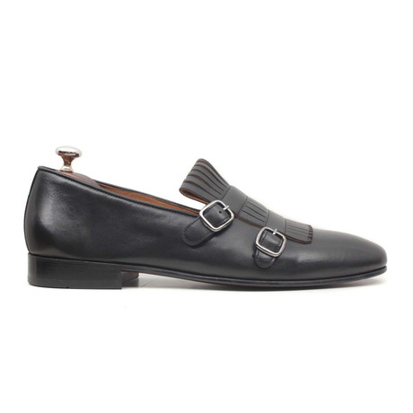 Siyah Super Wella Double Monkstrap Loafer // Black (Euro: 40)