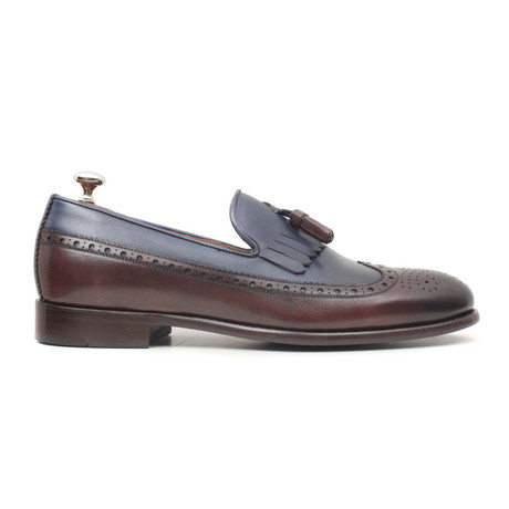 Kahve Scala Wingtip Loafer // Brown + Blue (Euro: 40)