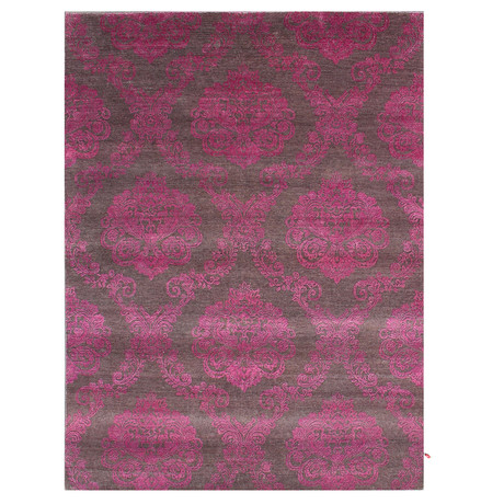 Damask Collection // Handcrafted Vibrant Wool + Art Silk Rug