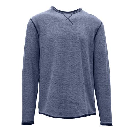 Kearney Long Sleeve Sweater // Slate Blue + White (S)