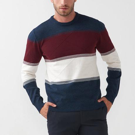 Dex Tricot Sweater // Dark Blue-Claret Red (S)