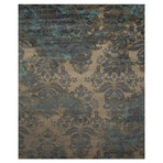 Damask Collection // Decorative Handcrafted Wool + Art Silk Rug