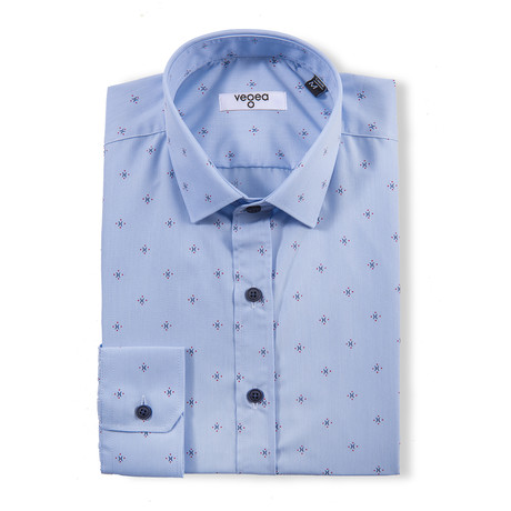 Claudius Slim Fit Print Shirt // Blue (XS)