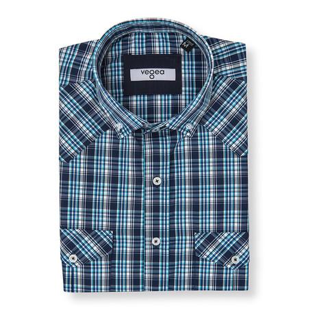 Geta Plaid Shirt // Blue + Turquoise (XS)