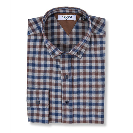 Gordian Check Flannel Shirt // Brown + Blue (XS)