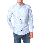 Claudius Slim Fit Print Shirt // Blue (S)