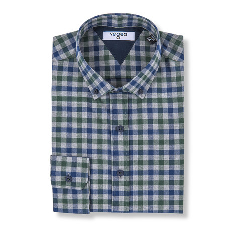 Decius Check Flannel Shirt // Blue + Green (XS)