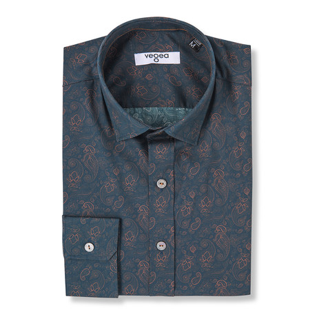 Tiberius Slim Fit Floral Print Shirt // Brown (XS)