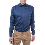 Nero Slim Fit Print Shirt // Blue (XS)