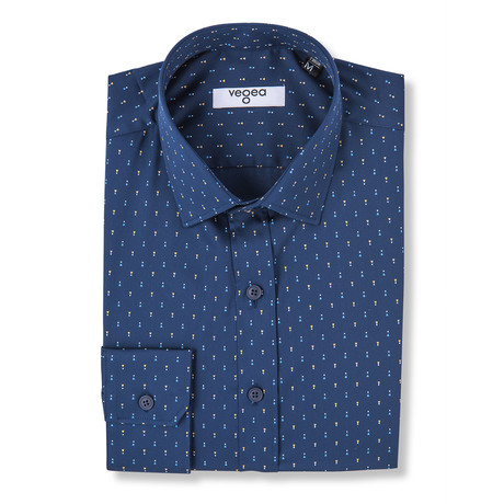 Nero Slim Fit Print Shirt // Blue (XS)